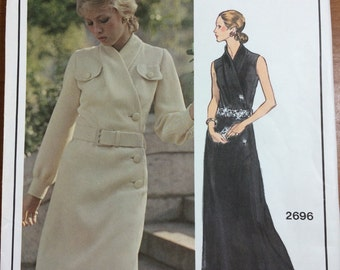 1970's Vogue 2696 Vogue Paris Original Pierre Balmain Side Button Shirt Dress Retro Mod Dress Sewing Pattern Vintage Size 10 UNCUT