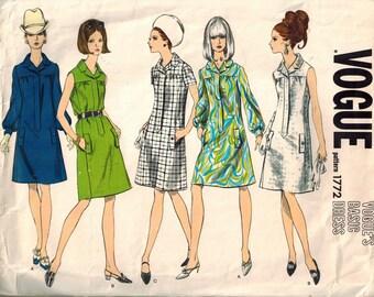 1960s Vogue Basic Dress Retro Mod Sewing Pattern Vintage 1772 Size 10 UNCUT