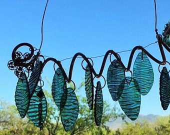 Windchime Copper Garden Art Sculpture Stained Glass with Flower