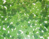 100 1/2 Inch Deep Lime Green Tumbled Stained Glass Mosaic Tiles
