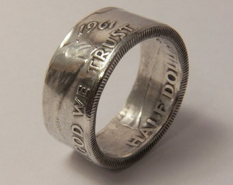 Franklin Silver coin ring year 1961 you pick size