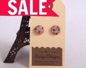 SALE- Sweet Button Earrings- Folk Floral