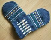 Hand-knit Scandinavian blue, green, yellow and white mittens -- Sibelius design