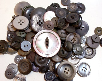 Gray Buttons, Vintage Gray Button Lot x 100 pieces, Used Garment Buttons, 50% Off Sale