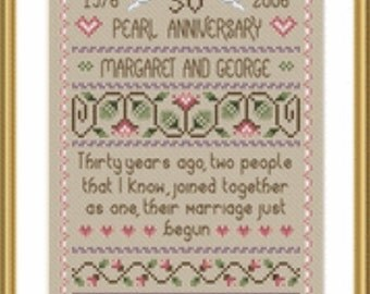 Counted Cross Stitch Pattern, Pearl Wedding Cross Stitch Pattern by Little Dove Designs, Primitive Wedding Sampler, Anniversary