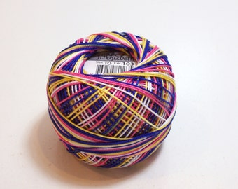 Tatting Thread, Lizbeth Size 10 Cotton Crochet Thread, Tutti Fruitti Color Number 103, Variegated Crochet Thread