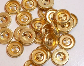 Gold Buttons, Goldtone Metal Buttons 9/16 inch diameter, 2 Hole x 25 pieces