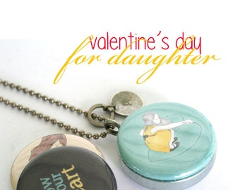 Daughter Valentine's Day Gift, Personalized Locket, Magnetic, 3 Lockets in 1, FOLLOW YOUR HEART, Teen Preteen Girl Gift, from Mom and Dad