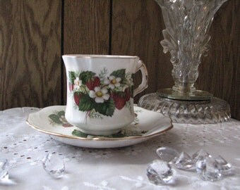 Hammersley Cup & Saucer, Strawberry Ripe Pattern, Fine Bone China made in England