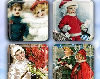 """60% OFF CLEARANCE Christmas Holiday Children - Set of 4 Glass Tile Magnets 1"""" square CSM107"""