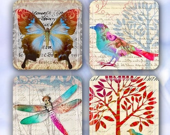 """60% OFF CLEARANCE Collage of Nature - Set of 4 Glass Tile Magnets 1"""" square ANM107"""