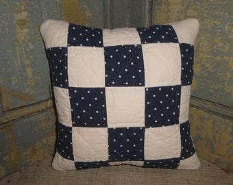 Antique Quilt Pillow | Vintage Quilt Pillow | Old Quilt Pillow | Primitive Pillow | Cupboard Tuck | Shelf Sitter | Small Quilt Pillow
