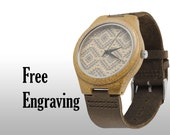 Engraved Watch, Wood Watch, Bamboo Watch, Engraved Wood Watch, Wooden Watch, Leather Strap, Customized, Personalized Gift