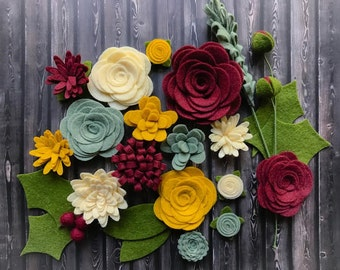 Wool Felt Flowers - Victorian Christmas Flowers - 19 Flowers & 24 leaves - DIY Christmas Wreaths, Garlands, Headbands - Metallic Gold add-on