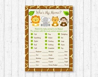 Safari Animal Match Baby Shower Game / Safari Baby Shower / Baby Animal Match / Who's My Mama / INSTANT DOWNLOAD A100