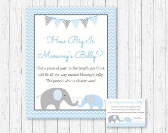 Elephant How Big Is Mommy's Belly Game / Elephant Baby Shower / Baby Shower Game / Belly Guessing Game / Blue & Grey / INSTANT DOWNLOAD