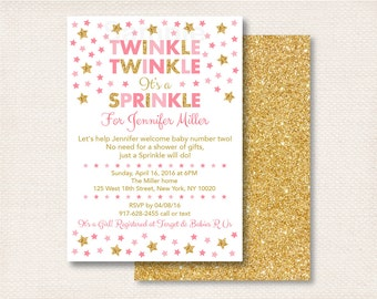 Twinkle Twinkle Baby Sprinkle Invitation / Twinkle Star Baby Sprinkle / Pink & Gold Glitter Star / Baby Girl Sprinkle / PRINTABLE A196