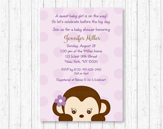 Cute girl monkey baby shower invitation monkey baby shower invite il570xn filmwisefo