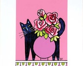 Black Cat Art Print/ Whimsical Kitty with Pink Roses by Susan Faye
