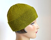 Knit Cotton Beanie in Chartreuse