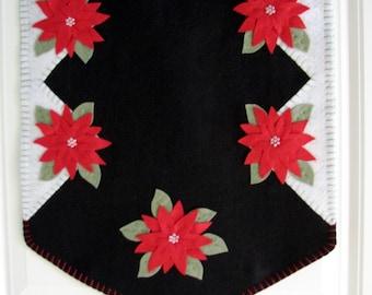 Hand Stitched Red Poinsettia Wool-Felt Primitive - Folk Art - Christmas Table Runner - Fiber Art - Holiday Decor - Wool - Wool Applique