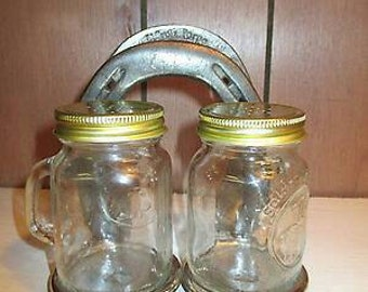Horse Shoe Salt and Pepper Shaker Napkin Holder Western Kitchen Decor