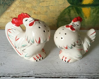 Vintage Salt and Pepper Shakers - Chicken and Rooster - Figural