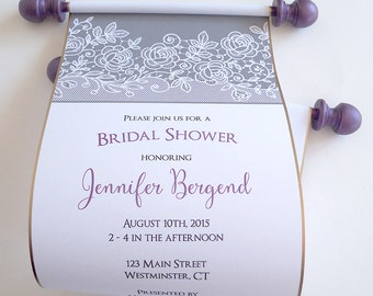 Lace bridal shower invitation scrolls in grey and and aubergine, urban elegance bridal showers, set of 10
