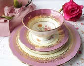 Elizabethan Teacup and Saucer and Plate Pink Floral English Bone China - Vintage Chic Tea Parties