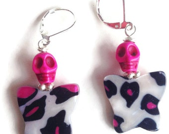 Hot Pink Skull with Pink Leopard Print Butterfly Earrings Day of the Dead  Dia de los Muertos Halloween Mexican Folk Art