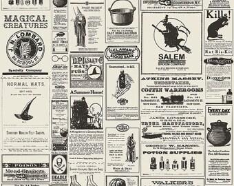 20% OFF Lost & Found Halloween Newsprint Cream - 1/2 Yard