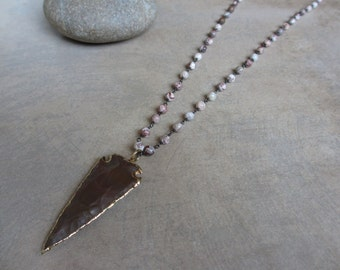 Bohemian Long Pendant Necklace, African Opal, Agate, Arrow Pendant, Earth Tone, Large Pendant, Layering Necklace, Boho Chic
