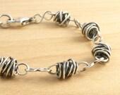 Sterling Silver Wirework Bracelet, Everyday Bracelet, Figure 8 Links, Rustic Bracelet, Twisted Wire Beads  #3554