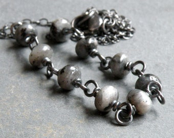 Larvikite Necklace, Norwegian Moonstone, Gray and Black Gemstones, Wire Wrapped, Oxidized Sterling Silver, #4611