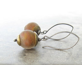 brown dangle earrings, lampwork earrings, mixed metal earrings, rustic oxidized earrings, boho dangle earrings