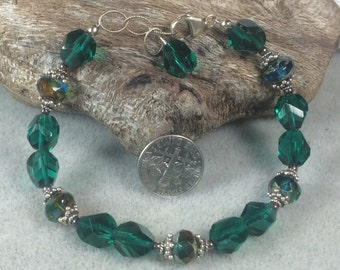 Green Picasso Glass and Sterling Silver Bracelet