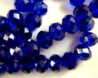 24 Dark Blue Glass Bead Transparent Abacus Faceted Beads 10x8mm Cobalt - 24 pc - G6010-DB24