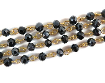 3ft Black Beaded Chain Designer Chain Gold Plated Transparent Faceted  Glass Rondelle Beaded Rosary 7x5mm - 39 inch - STR9088CH-BKG39