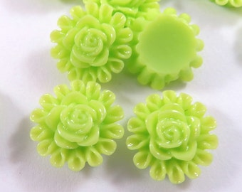 BOGO - 25 Cabochon, Resin Flower Lime Green 13mm - No Holes - 25 pc - CA2012-LG25 - Buy 1, Get 1 Free - No coupon required