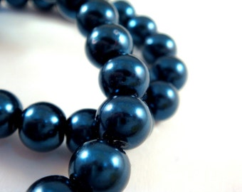 50 Blue Glass Pearls 8mm Beads Sapphire Blue - 14 inch - 5131