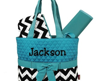 Personalized Diaper Bag Black Chevron Blue Quilted Monogrammed