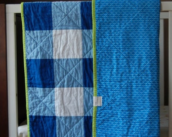 Royal Blue Gingham Crib Quilt, Ready to Ship