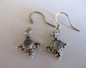 Tiny Moonstone Earrings, Sterling Silver Earrings