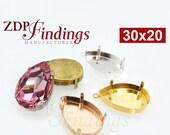 2Pcs x 30x20mm Pear Pendant Bezel Cup For Setting fit Swarovski 4327, Choose your Finish (PR3020PV)