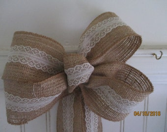Bridal Bow  Burlap and Lace  Country Wedding  Beach Wedding  Rustic Wedding