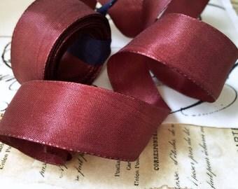 "5 Yards of Rayon Taffeta Wired Ribbon in Cocoa  (1"")"