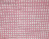 """vintage 80s t-shirt knit fabric featuring cute tiny pink and white gingham print,  53"""" x 33"""""""