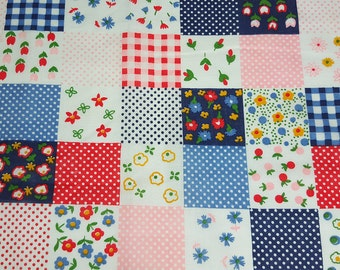 vintage 70s fabric, featuring faux patchwork print, 1 yard, 13 inches