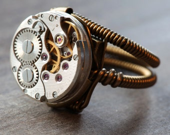 Steampunk Ring , Antique Vintage Watch Movement (Custom size available - see description)