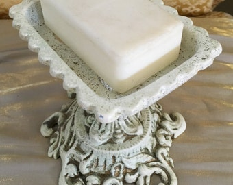 Soap Holder Vintage Shabby White Cast Metal